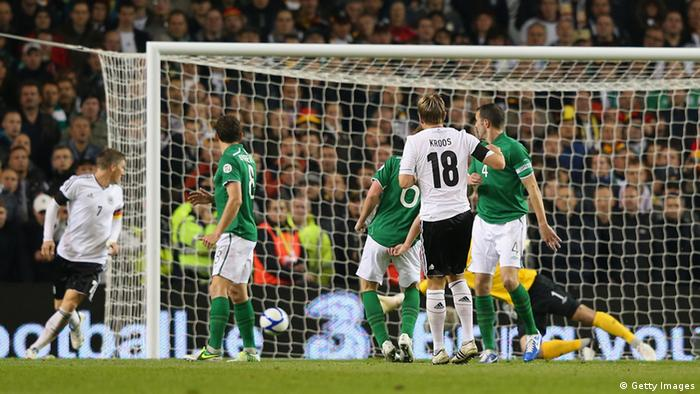 DUBLIN, IRELAND - OCTOBER 12: Toni Kroos of Germany scores the fifth goal during the FIFA 2014 World Cup Qualifier Group C match between Republic of Ireland and Germany at the Aviva Stadium on October 12, 2012 in Dublin, Ireland. (Photo by Alex Livesey/Getty Images)