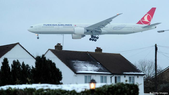 A Turkish Airlines passenger aircraft prepares to land at Heathrow Airport Carl Court/AFP/Getty Images