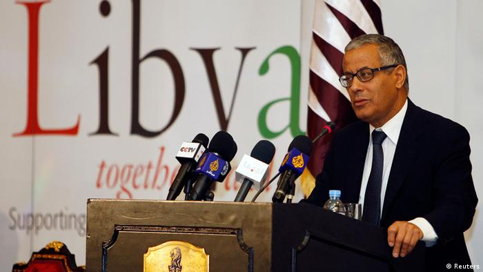 Local council member of the city of Tripoli and member of the Libyan National Council Ali Zeidan speaks during a conference on Libya, in Doha in this May 11, 2011 file photo. Libya's national assembly elected Zeidan as Prime Minister on October 14, 2012. The previous Prime Minister, Mustafa Abushagur, was dismissed through a vote of no confidence earlier in October 2012 after he was unable to form a government acceptable to the national assembly. Picture taken May 11, 2011. REUTERS/Mohammed Dabbous/Files (QATAR - Tags: POLITICS)