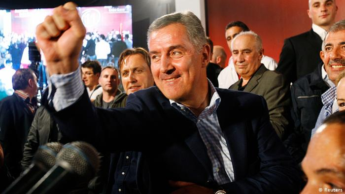 Democratic Party of Socialists (DPS) leader Milo Djukanovic reacts after Montenegro's parliamentary elections in Podgorica, October 14, 2012. REUTERS/Stevo Vasiljevic (MONTENEGRO - Tags: POLITICS ELECTIONS)
