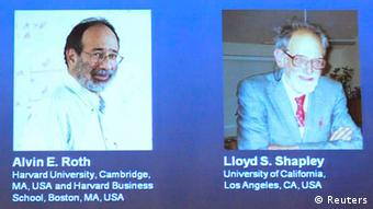 Pictures of U.S. economists Alvin Roth and Lloyd Shapley