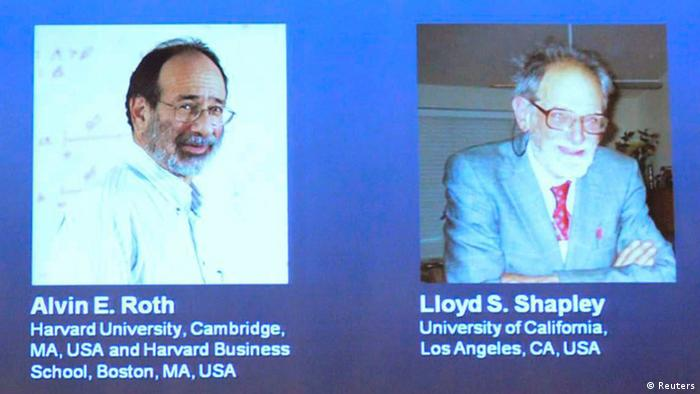 Pictures of U.S. economists Alvin Roth and Lloyd Shapley, who won the 2012 Nobel prize for economics, are seen projected at the Swedish Royal Academy of Sciences in Stockholm, Sweden October 15, 2012. The men are award the prize for research on how to match different economic agents such as students for schools or even organ donors with patients. REUTERS/Henrik Montgomery/Scanpix Sweden (SWEDEN - Tags: BUSINESS SCIENCE TECHNOLOGY EDUCATION) SWEDEN OUT. NO COMMERCIAL OR EDITORIAL SALES IN SWEDEN. NO COMMERCIAL SALES