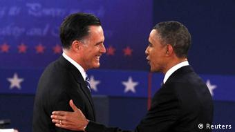U.S. Republican presidential nominee Mitt Romney (L) and President Barack Obama (R) exchange words during the second U.S. presidential campaign debate in Hempstead, New York, October 16, 2012. REUTERS/Lucas Jackson (UNITED STATES - Tags: POLITICS ELECTIONS USA PRESIDENTIAL ELECTION)