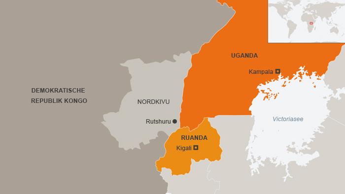 Karte der Grenzregion von der Demokratischen Republik Kongo, Uganda und Ruanda inklusive der nordkongolesischen Provinz Kivu (Grafik: DW)