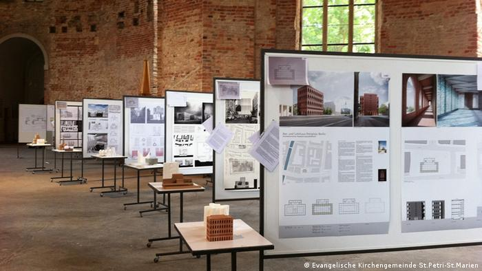 An exhibition, pictured here, currently shows the plans for the proposed House of Prayer and Learning