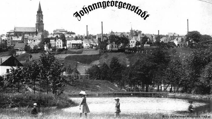 Historische Postkarte von Johanngeorgenstadt im Erzgebirge Foto: F. Strauss (DW-Archiv)