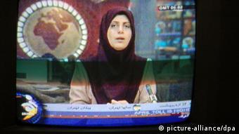 Eine verschleierte Nachrichtensprecherin des iranischen Fernsehens, aufgenommen im April 2007. Foto: Tilman Billing +++(c) dpa - Report+++