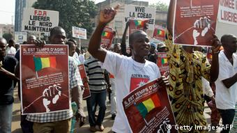 People protesting in Mali for Military intervention