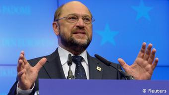European Parliament President Martin Schulz holds a news conference during a European Union leaders summit in Brussels (REUTERS/Eric Vidal)