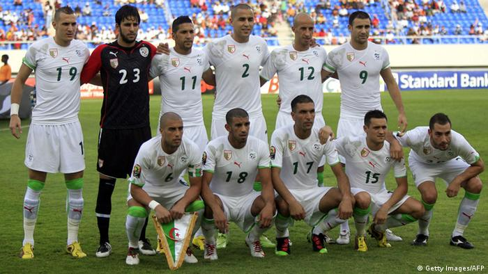 Algeria's football team pose before their third-place play off match against Nigeria in the African Cup of Nations CAN2010 at the Ombaka stadium in Benguela on January 30, 2010, Nigeria won 1-0. AFP PHOTO / KHALED DESOUKI (Photo credit should read KHALED DESOUKI/AFP/Getty Images)