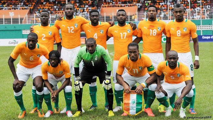 Ivory Coast's National football team 'Elephant' players pose for a photo before the African Cup of Nations qualification match between Ivory Coast and Senegal at the Felix Houphouet-Boigny stadium in Abidjan on September 8, 2012. AFP PHOTO / ISSOUF SANOGO (Photo credit should read ISSOUF SANOGO/AFP/GettyImages)