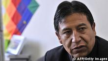 GettyImages 142004031 Bolivian Foreign Minister David Choquehuanca gives an interview with AFP on March 27, 2012 in Brussels. Choquehuanca said the ability to sue Chile for breach before the OAS (Organization of American States) is open. He said he planned to submit a report on the maritime claim against Santiago before the general meeting in June. AFP PHOTO / GEORGES GOBET (Photo credit should read GEORGES GOBET/AFP/Getty Images)
