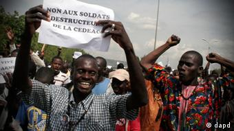 A demonstration by opponents of military intervention (AP Photo/Harouna Traore)