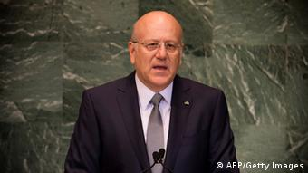 Najib Mikati, President of the Council of Ministers of the Lebanese Republic, addresses the 67th United Nations General Assembly meeting September 27, 2012 at the United Nations in New York. AFP PHOTO / DON EMMERT (Photo credit should read DON EMMERT/AFP/GettyImages)