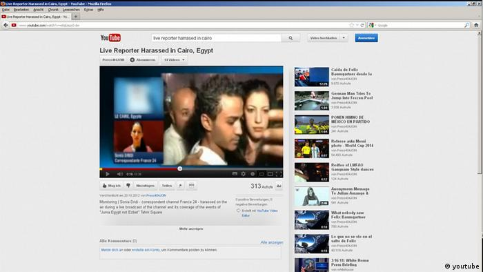 Monitoring | Sonia Dridi - correspondent channel France 24 - harassed on the air during a live broadcast of the channel and its coverage of the events of Juma Egypt not Ezbet Tahrir Square Quelle: http://www.youtube.com/watch?v=e8qUauoS-dw