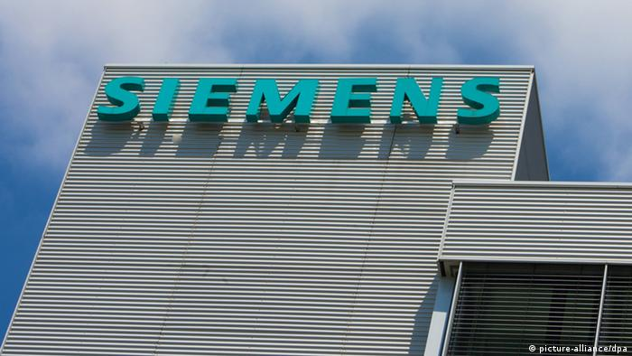 Siemens logo on building of company's Munich headquarters pixel