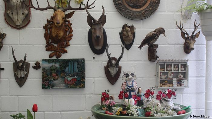 Deer heads on the wall (Photo: DW/Antje Binder)