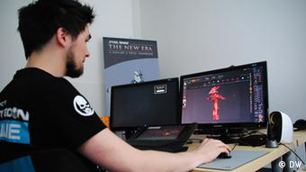 Game design student Julian works on the development of a new game