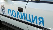 Polizeiauto in Sofia, Bulgarien. Schlagworte Polizeiauto, Polizeiwagen, Schriftzug, Aufschrift, Justiz, Auto, Polizei