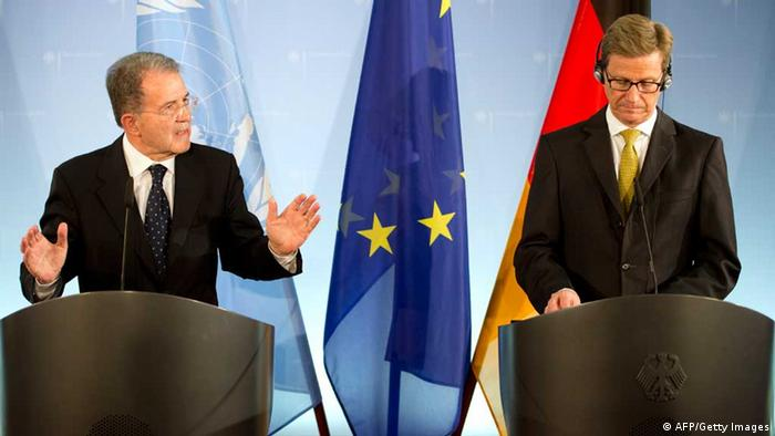 President of the African Union-UN peacekeeping panel Romano Prodi (L) and German foreign minister Guido Westerwelle give a press conference at the foreign office in Berlin on October 23, 2012. Prodi, former European Commission chief and Italian Premier, has been named by UN Secretary General Ban Ki-moon as envoy for the Sahel and will coordinate the United Nations' system-wide efforts to finalize and implement the United Nations Integrated Regional Strategy for the Sahel. AFP PHOTO / ODD ANDERSEN (Photo credit should read ODD ANDERSEN/AFP/Getty Images)