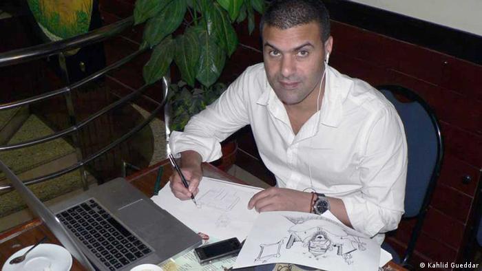 Kahlid Gueddar, marokkanischer Karikaturist  Aufnahme Datum: September 2012, Rabat