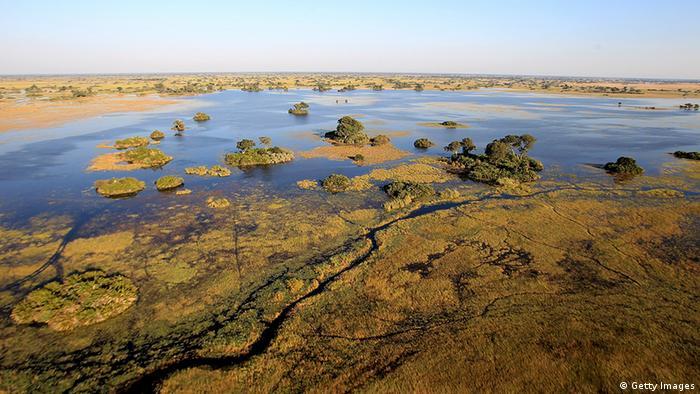 The Okavango delta is seen from the air outside Jao Luxury Safari Camp on June 18, 2010 in Maun, Botswana