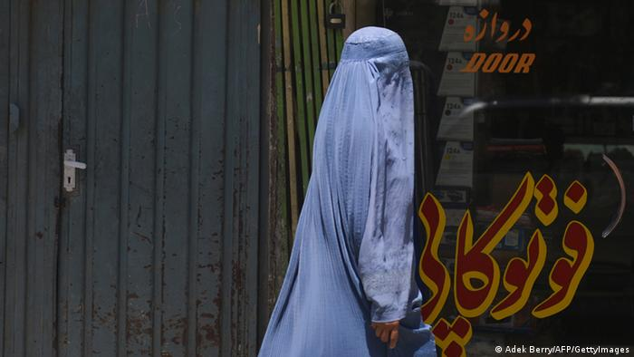 A woman in a burkha on the street in Kabul