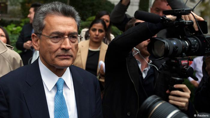 Former Goldman Sachs Group Inc board member Rajat Gupta departs Manhattan Federal Court after being sentenced in New York, October 24, 2012. Fallen Wall Street insider Gupta was sentenced to two years in prison on Wednesday for leaking Goldman Sachs boardroom secrets to the hedge fund manager at the center of the U.S. government's crackdown on insider trading, a much lighter sentence than prosecutors had sought. REUTERS/Lucas Jackson (UNITED STATES - Tags: BUSINESS CRIME LAW)
