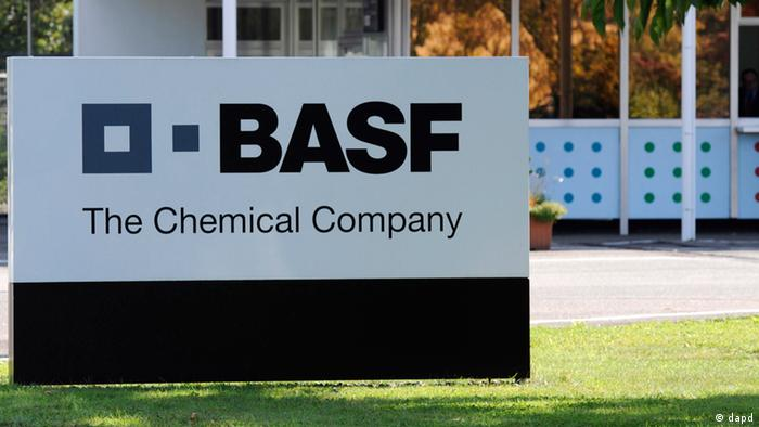 A BASF sign in front of the company's office in Baden-Württemberg