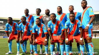 Democratic Republic of Congo players pose for a team photo ahead of their World Cup 2014 Africa Zone qualifying match against Togo in Kisnhasa on June 10, 2012. AFP PHOTO/JUNIOR D.KANNAH (Photo credit should read JUNIOR D.KANNAH/AFP/GettyImages)