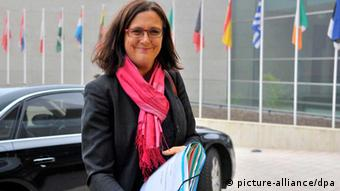 EU commissioner for Home Affairs Cecilia Malmstroem arrives at the EU Headquarters in Luxembourg. (Photo: EPA/NICOLAS BOUVY)