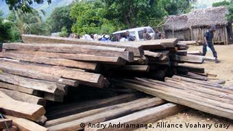 Beschlagnahmtes Palisanderholz in Madagaskar. (Keine andere Verwendung als für den speziellen Artikel.)
