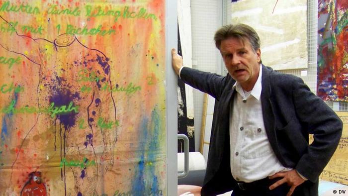 Кристоф Шрайер с картиной ''Ванильный пудинг'' Зигмара Польке