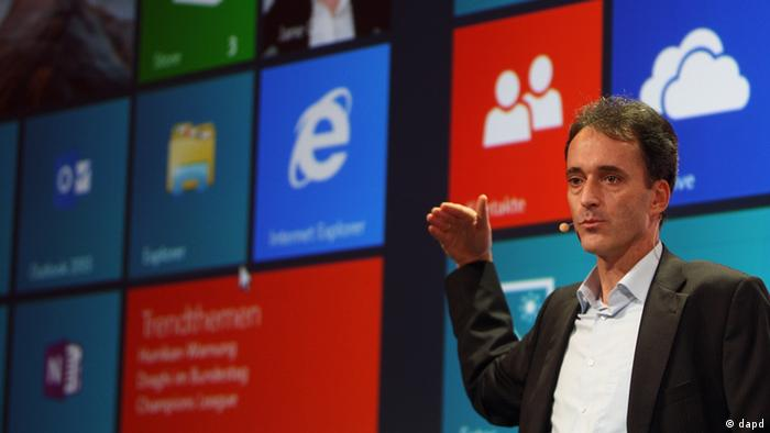 Oliver Guertler, director of Microsoft Germany, presents Windows 8 in Berlin
