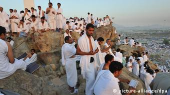 Pilgrims on Gebel Rahmah (Mount of Mercy) in Arafat in Mecca. Photo: dpa - Bildfunk