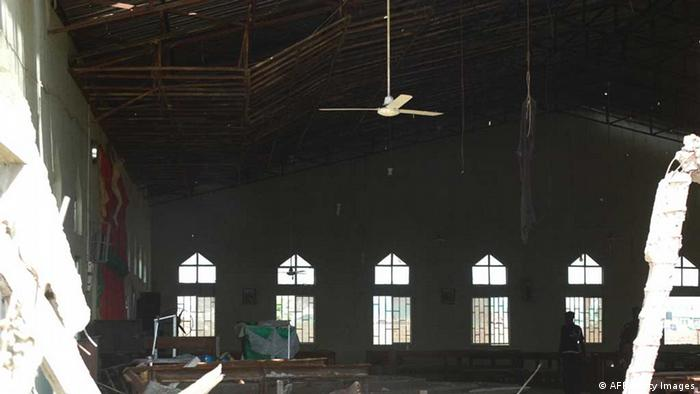 Blick in die zerstörte Kirche in Kaduna (Photo credit should read STRINGER/AFP/Getty Images)