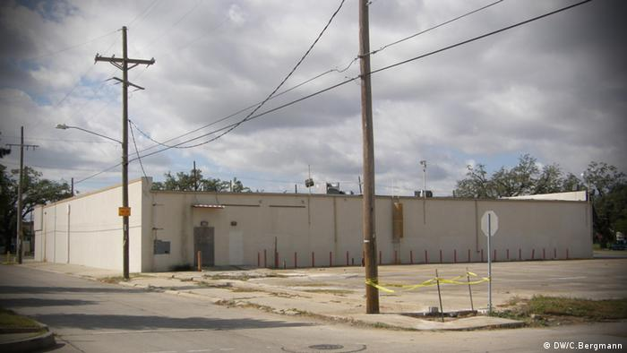 An empty building and lot in New Orleans Lower 9th Ward