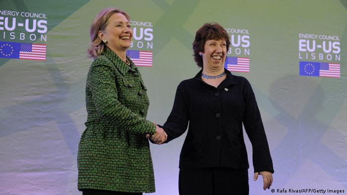 US Secretary of State Hillary Clinton (L) shakes hands with EU High Representative for Foreign Affairs and Security Policy Catherine Ashton as they pose ahead of an Energy meeting on November 19, 2010 in Lisbon, during a NATO (North Atlantic Treaty Organization) Summit of Heads of States and Government held on 19-20 November 2010. AFP PHOTO/ RAFA RIVAS (Photo credit should read RAFA RIVAS/AFP/Getty Images)