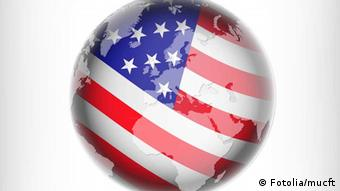 Graphic showing globe and US flag. Fotolia/mucft