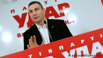 Vitaly Klitschko speaks with media during press conference