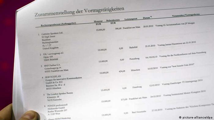 El exministro alemán de Finanzas y diputado del Partido Socialdemócrata Peer Steinbruck era uno de los conferencistas mejor pagados de Alemania. Aquí, su declaración de ganancias en esa actividad.