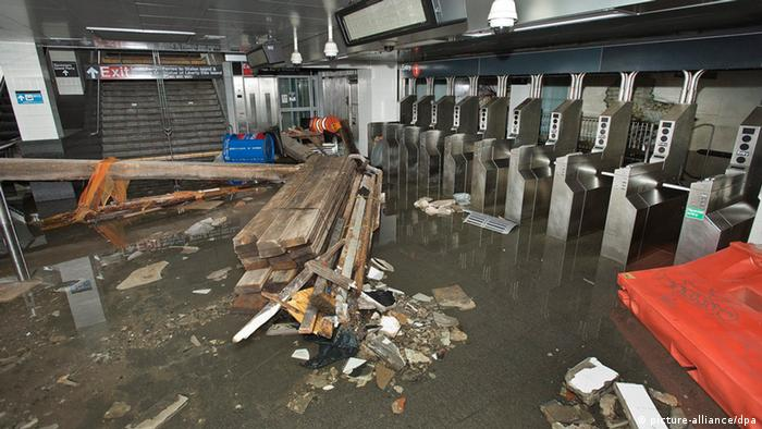 Debris lying around at the South Ferry subway station after it was flooded by seawater during Hurricane Sandy, New York City