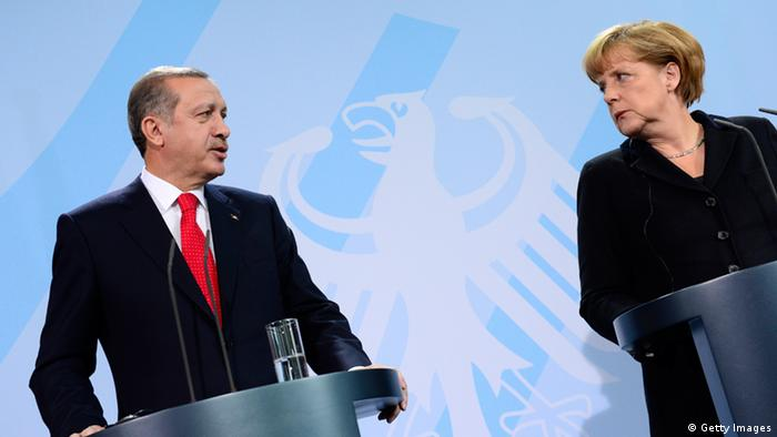 Angela Merkel and Recep Tayyip Erdogan at a press conference in 2012