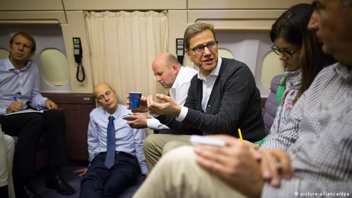 Foreign Minister Guido Westerwelle on flight from Berlin to Dakar.