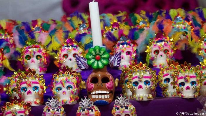 Mexican traditional sugar 'Calaveritas' (Little Skulls) are displayed at the Jamaica market in Mexico City, on October 31, 2012, as Mexicans prepare to celebrate the traditional Day of the Dead. AFP PHOTO/ Pedro Pardo (Photo credit should read Pedro PARDO/AFP/Getty Images)