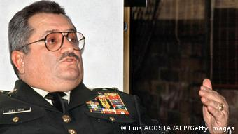 (FILES) This undated file photo shows retired Colombian Army General Rito Alejo Del Rio during a press conference in Bogota. Del Rio has been detained 23 July, 2001 under charges of organizing and promoting right-wing paramilitary groups while he was commander of the XVI Army Brigade in 1995 and 1997. (Photo credit should read Luis ACOSTA /AFP/Getty Images)