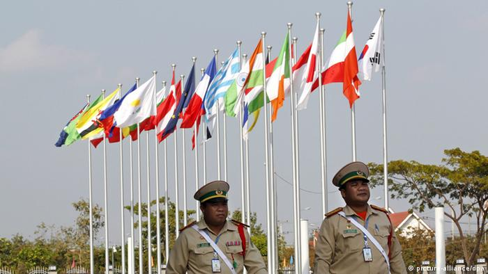 Laos police on patrol at the venue for the Asia Europe Meeting (picture: EPA/RUNGROJ YONGRIT)