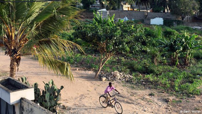 Togo Landschaft Junge Fahrrad