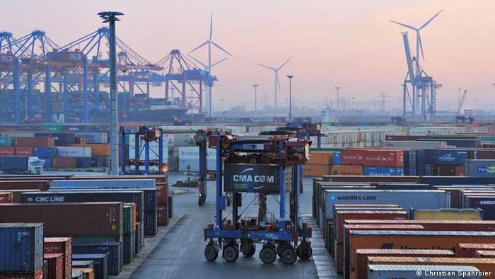 Terminal de contenedores del puerto de Hamburgo.