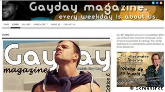 Screenshot from the internet magazine Gayday